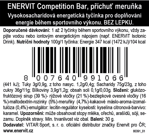 Competition Bar – meruňka (30 g)
