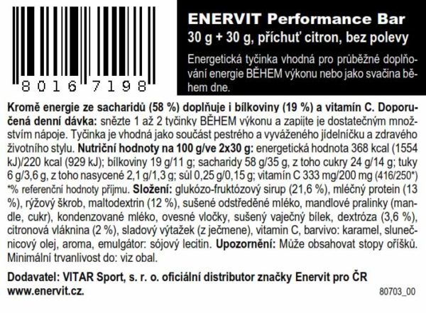 Performance Bar – citron (30 + 30 g)