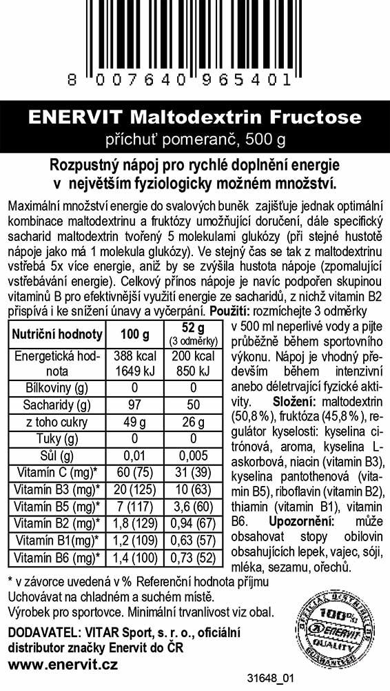 Maltodextrin Fructose – pomeranč (500 g)