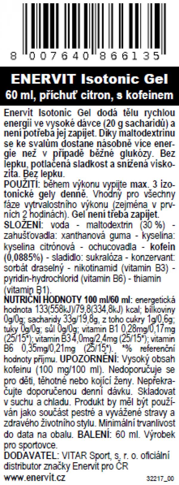 Isotonic Gel s kofeinem – citron (60 ml)